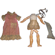 Composition Doll Body with Original Chemise and Gauze Undies