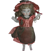 """5 1/2"""" Antique All-Bisque Doll Pink bootines"""