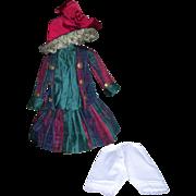 "19-20"" Promenade Dress, Hat, Petticoat and Bloomers Silk"