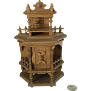 Miniature Ornate Oak Cabinet with Shelves