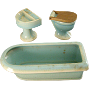 Aqua  Three Piece Miniature Bathroom Set for your Dollhouse