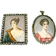 Miniature Antique Signed Portraits for Dollhouse