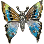 Alice Caviness Sterling Marcasite Enamel Butterfly Pin