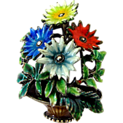 Alice Caviness Sterling and Enamel Flower Basket Pin