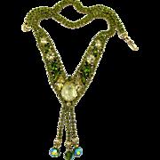 REDUCED Alice Caviness Olivine Rhinestone and Dangle Necklace