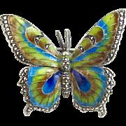 Vintage Germany Sterling Marcasite Enamel Butterfly Pin