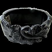 Vintage Deeply Carved Black Bakelite Clamper Bracelet