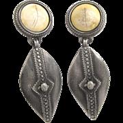 Vintage Ben-Amun Southwest Silver Tone Drop Earrings