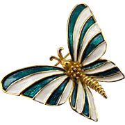 Boucher 9420 Green and White Butterfly Pin