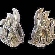 REDUCED Boucher Clear Rhinestone Silver Tone Clip Earrings