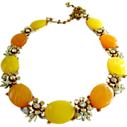 B.S.K. Yellow and Orange Thermoset Necklace