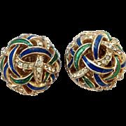 REDUCED Ciner Blue Green Enamel Dome Earrings