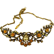 Vintage Unsigned Coro Amber Rhinestone Choker Necklace