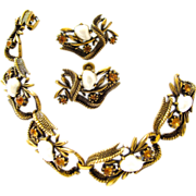 REDUCED Coro Faux Pearl Antiqued Gold Tone Bracelet and Earring Set