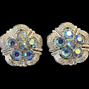 Coro Blue Aurora Borealis Clip Earrings