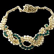 Coro Green Rhinestone and Gold Tone Leaf Choker Necklace - Near Mint