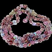 REDUCED Vintage Lavender Crystal Bead Three Strand Necklace