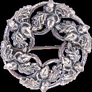 REDUCED Vintage Danecraft Sterling Acorn / Leaf Circle Pin