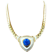 REDUCED Christian Dior Blue Cabochon Choker Necklace