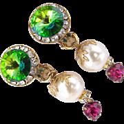 Simone Edouard Rivoli and Faux Pearl Clip Earrings