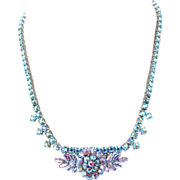 REDUCED Vintage Pink Aurora Borealis Rhinestone Necklace - Made in England