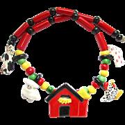 Flying Colors Ceramic Barnyard Animal Necklace