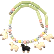 Vintage Flying Colors Ceramic Sheep Necklace