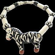 Parrot Pearls Ceramic Zebra Necklace
