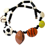 REDUCED Vintage Flying Colors Sport Theme Ceramic Necklace