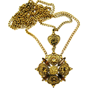 Florenza Victorian Revival Topaz Rhinestone Pendant Necklace