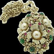 Florenza Flower Pendant in French White Enamel