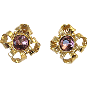 Givenchy Gold Tone Bow Clip Earrings