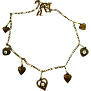 Vintage Brass Tone Heart Charm Necklace