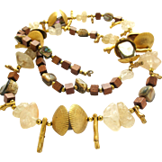 Miriam Haskell Wood and Metal Shell Bead Nature Necklace