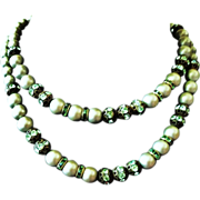 Vintage Hobe Pale Green Faux Pearl Double Strand Necklace