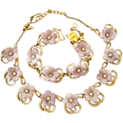 Hobe Pale Lavender Flower Necklace and Bracelet Parure