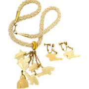Hobe Faux Ivory Asian Theme Dangle Necklace and Earring Set - In Original Box