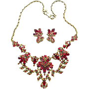 Hollycraft 1952 Red Rhinestone Necklace & Earrings Set