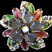 Vintage Delizza & Elster (AKA: Juliana) Diamond Shaped Rhinestone Brooch - Book Piece