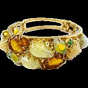 Delizza and Elster (aka:  Juliana) Yellow Art Glass Clamper Bracelet