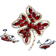 SALE Hobe Red Rhinestone Shamrock Brooch and Earring Set
