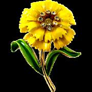 Crown Trifari Yellow Enamel Carnation Flower Pin - Advertisement Piece