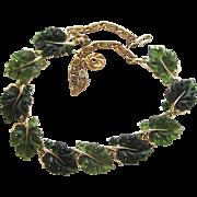 Vintage LIsner Green Oak Leaf Necklace.