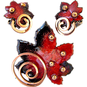 REDUCED Matisse Copper and Red Maple Leaf Brooch and Earring Set - Book Piece