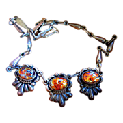 REDUCED Vintage Mexico Silver Foil Glass Necklace