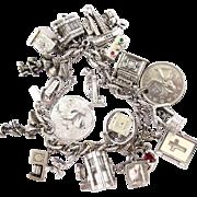 Vintage Monet Silver Tone Charm Bracelet - Many Sterling Charms