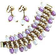 Napier Pastel Moonglow Dangle Bracelet and Earring Set