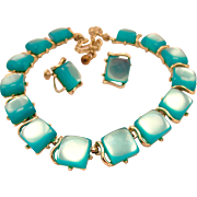 Green Moonglow Lucite Necklace and Earring Set - Near Mint Condition