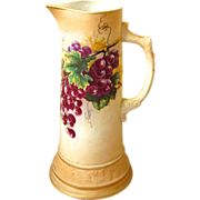 Vintage Royal Firenze China Tankard / Pitcher with Grape Design