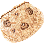 Vintage Beige Beaded Belgium Clutch Purse